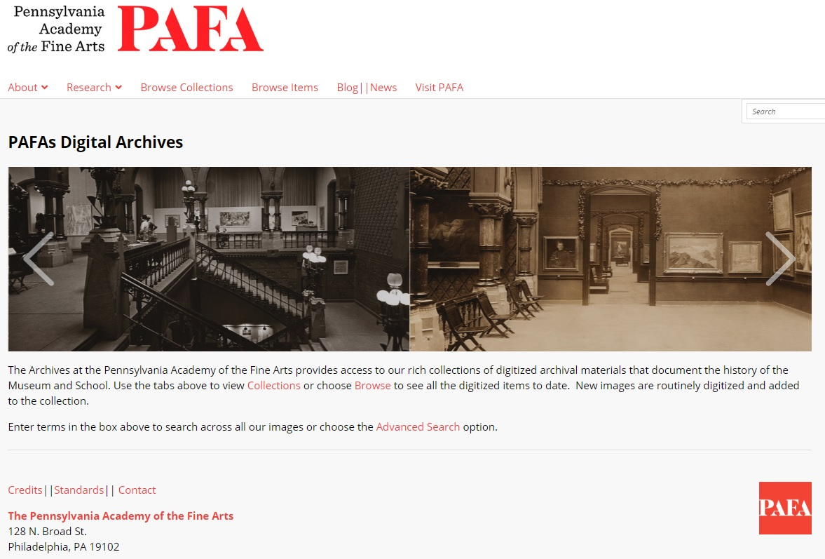 Screenshot of the landing page for PAFA's upgraded Digital Archives portal.